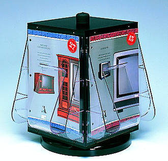 Revolving Display stand, counter stand, 4-sided A4 x 4