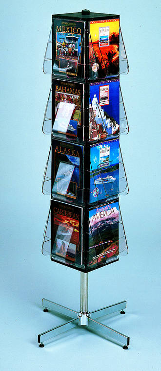 Revolving Display stand, floor standing, 4-sided A4 x 16