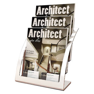 A4 Brochure Holder, 3Tier, Silver Frame (also available in Black)