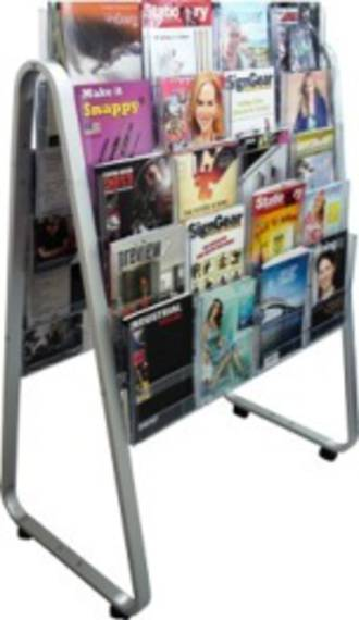 A4 Easel Floor Stand Brochure Holder Double-sided. 40 x A4, 5 rows, 4 wide