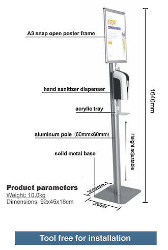 Freestanding sign holder with automatic hand sanitiser