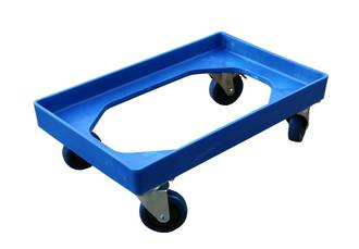 Blue Crate Skate with Rebound Rubber Wheels / ZP Castors