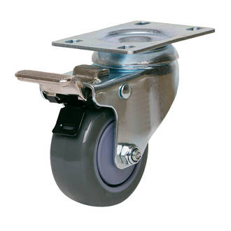 Swivel Brake Castor with 75mm Polyurethane Wheel