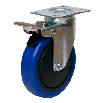 Swivel Brake Castor with 100mm Rebound Rubber Wheel