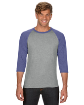 New Adult Tri-Blend 3/4 Sleeve Raglan Tee