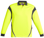 CDZH249 Mens Hi Vis Aztec Polo - Long Sleeve