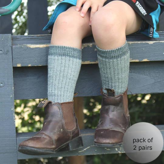 Boot or Gumboot Merino Wool Socks - Children, Small Adult & Womens - 2 pairs