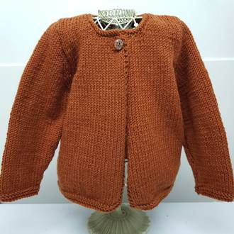 Chunky Merino Cardigan - burnt orange