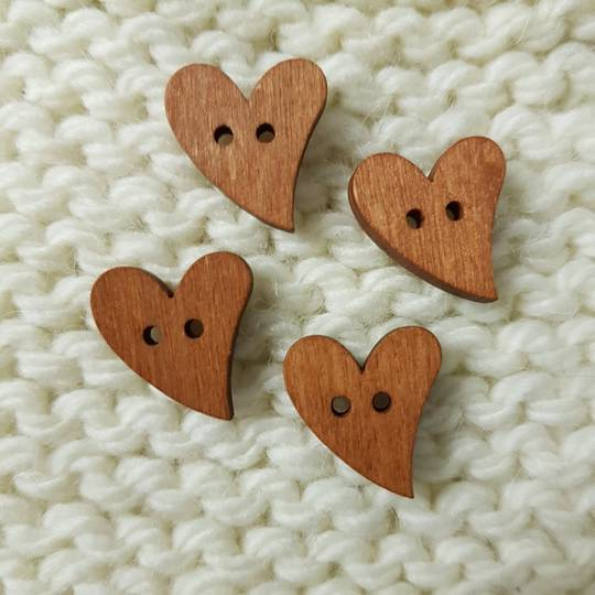 Wooden Heart Buttons - 15mm. Pack of 4