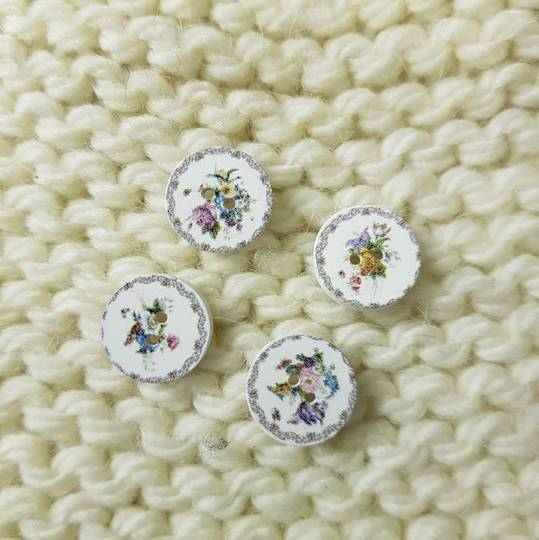 White Flower Buttons - 15mm. Pack of 4