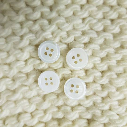Shell White Buttons - 12mm. Pack of 4
