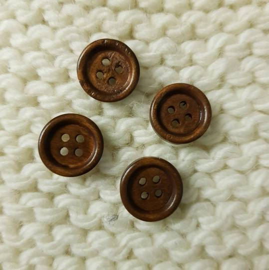 Wooden Buttons - 15mm. Pack of 4