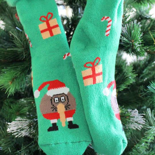 New Zealand Christmas Socks - Bed Socks Green or Black