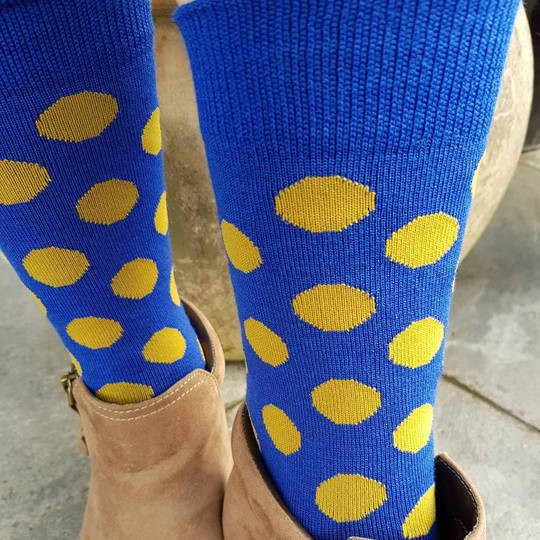 Merino Dot Socks - Blue with mustard - one size fits all.