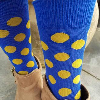 Merino Dot Socks - Blue with mustard