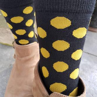 Merino Dot Socks - Black with mustard