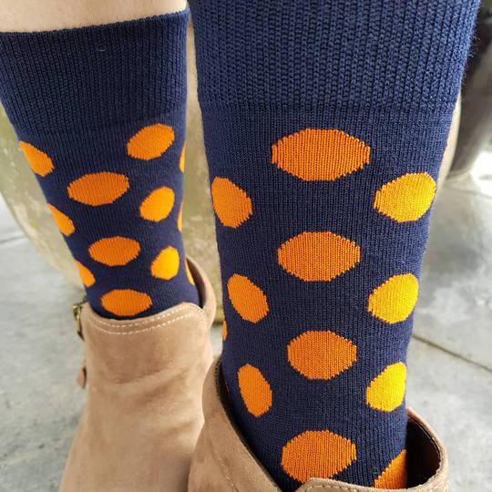 Merino Dot Socks - Navy with orange - Womens one size fits all.