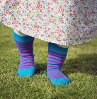 Long Merino Stripe Baby Socks - turquoise pink stripe