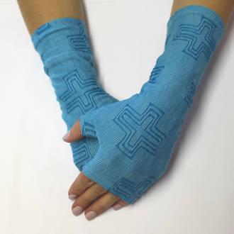 Merino Blend Hand Warmers - Blue Cross