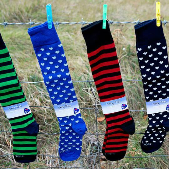 Merino Socks - Knee High Hearts and Stripes - Unisex