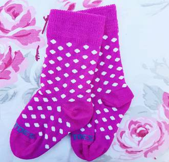 Long Merino Stripe Baby Socks - pink with white dots