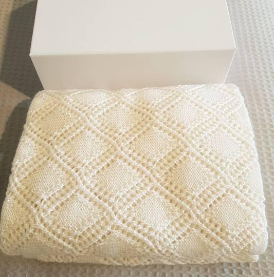 Merino Baby Shawl - Cream and Gift Boxed
