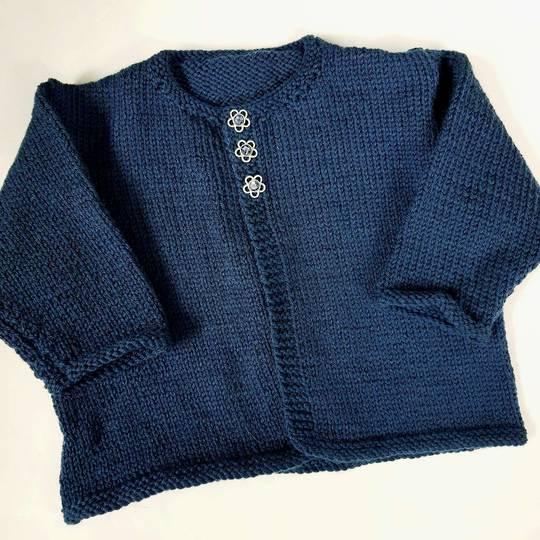 Merino Baby Knit Cardigan - Navy. 3 - 6 months