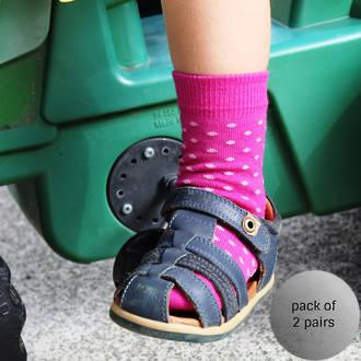 Merino Crew Socks - Berry Dot