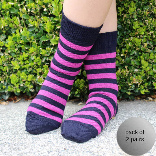 Merino Socks - Navy with pink stripe