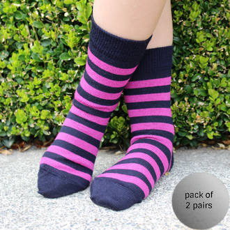 Merino Socks - Navy with pink stripe