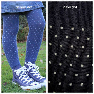 Merino Tights - Denim or Navy Polka Dot