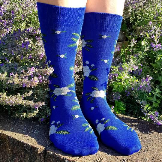 Cosy Merino Flower Socks - one size fits all.