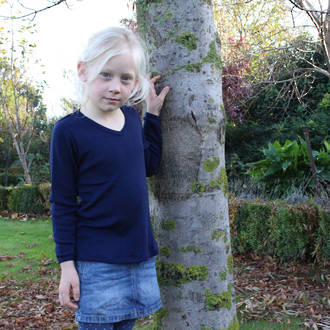 Merino Kids Long Sleeve V Neck Top