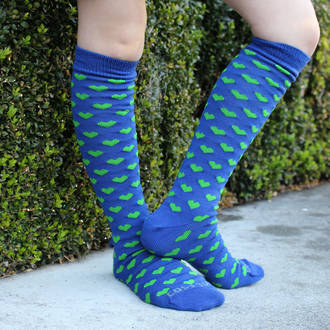 Long Merino Blue Lime Heart Socks - Child