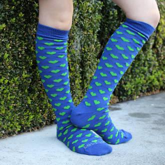 Long Merino Blue Lime Heart Socks - Child