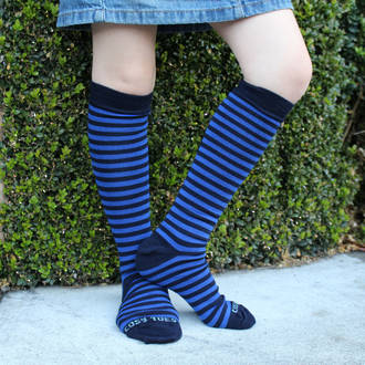Long Merino Navy Stripe Socks - Child