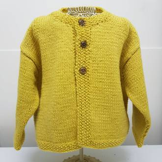 Mustard Merino Cardigan with Moss Stitch