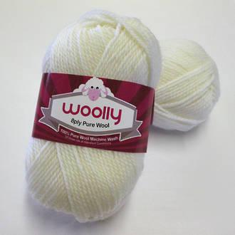 Pure 100% Wool 8 Ply Yarn - White