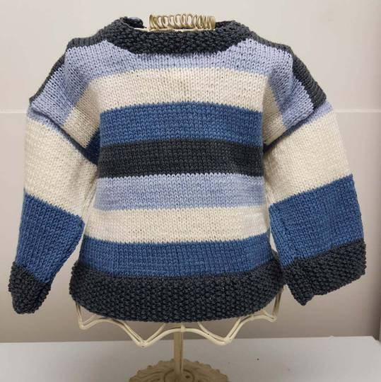 Merino Wool Baby Knit Jersey with Stripes. 3 - 6 months.