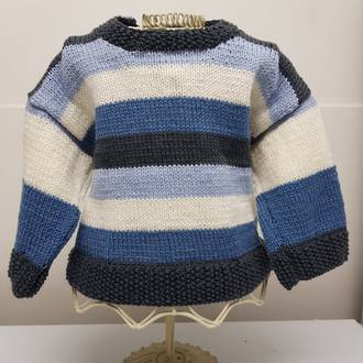 Merino Wool Baby Knit Jersey with Stripes