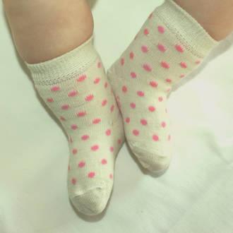 Merino Dot Baby Socks - White Crew