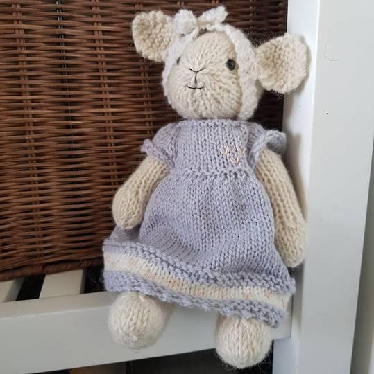 Wool Lamb Teddy - light blue / grey dress with bow headband