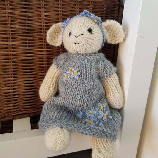 Wool Lamb Teddy - blue dress and blue flowers