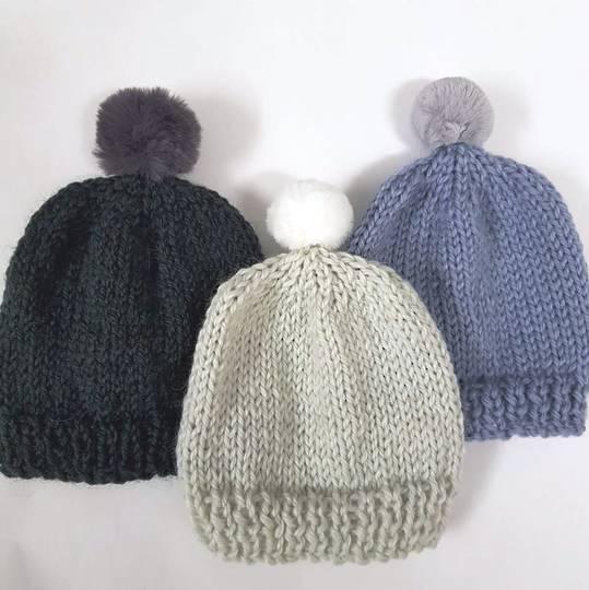 Merino Baby Hat with Pom Pom.