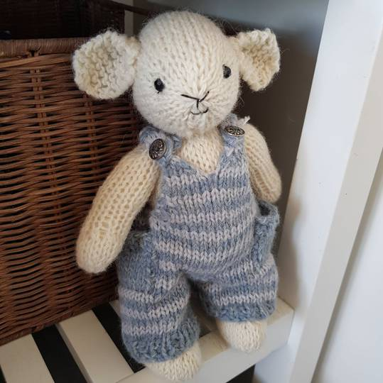 Wool Lamb Teddy - blue stripe overalls