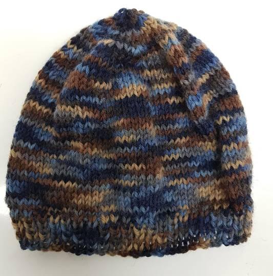 Children's Woolly Hat - blue/brown