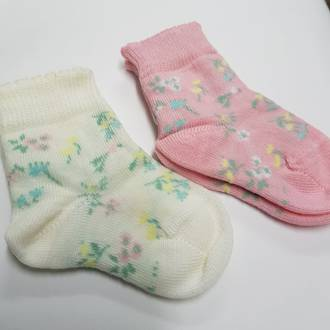 Merino Baby Socks with Flowers
