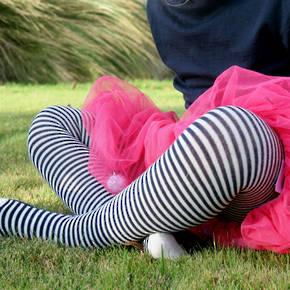 Merino Wool Tights - Navy Stripe