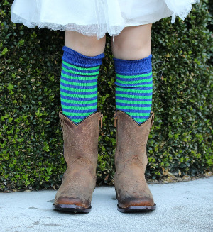 Merino kids socks blue lime stripes cosy toes-hp
