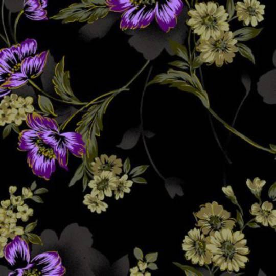 Fabric- Jinny Beyer- Midnight Garden Floral - Violet